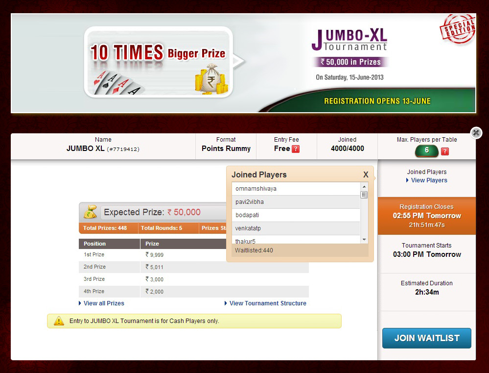JumboXL Rummy Tournament on RummyCircle OverSubscribed
